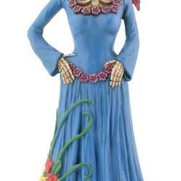 Skeleton Lady in Blue Dress with Bird Day of the Dead Statue - T81680