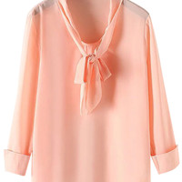 Bow Tie Collar Long Sleeve Blouse