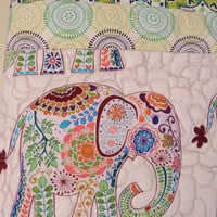 Baby boy elephant nursery bedding - Quilt or blanket - Blue green - Homemade baby quilt