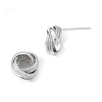 Leslies 14k White Gold Polished Textured Love Knot Earrings