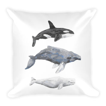 Orca, Humpback + Beluga WhaleSquare Pillow