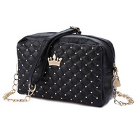 Fashion Vintage Women Evening Messenger Bags Rivet Chain Black Flap Small Shoulder Bag PU Leather Crossbody Crown Party Bags