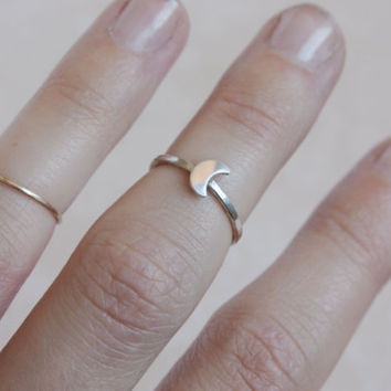 Sterling silver cresent moon midi ring, silver moon ring, crescent moon ring, simple moon ring, moon midi ring,moon knuckle ring,silver moon