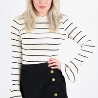 Striped Ruffle Hem Smocked Knit Top {Ivory/Black}