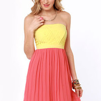 Lemon Ada Strapless Yellow and Coral Pink Dress