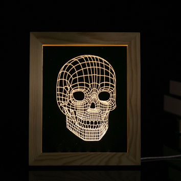 Creative LED Decorative Wooden Photo Frame Acrylic Nightlight Table Lamp 3D Halloween Skull Lamp