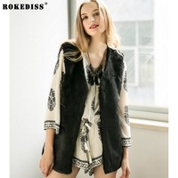 ROKEDISS 2017 Faux Fox Coat Women Winter New Fashion Slims Super Long Fake Fur Vests Furry Vest Female X303