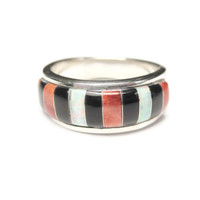 Zuni Opal Onyx Spiny Oyster Band Ring Sterling Size 7