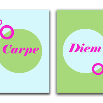 Carpe diem - poster print set - Typography print - Motivational print -  Inspirational print - modern art - wall art prints - qoute print