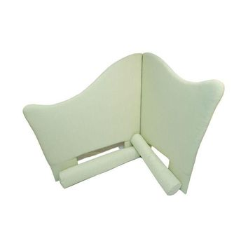 Pre-owned Custom Twin Headboard with Bolsters in Pale Green