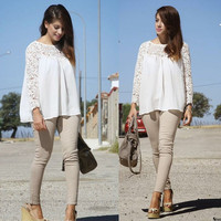 White Crochet Long Sleeve Blouse