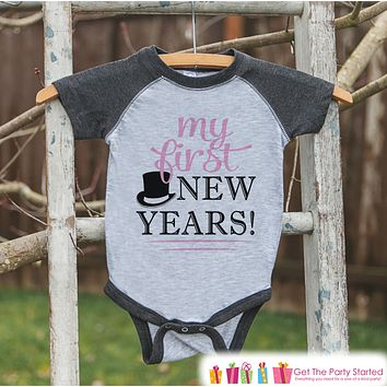 My First New Year Outfit - Baby 1st New Year's Eve Onepiece or Shirt - Baby's First New Years - Pink Hat - Grey Baseball Tee