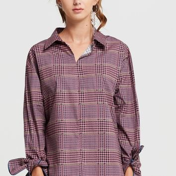 Riley Checkered Sleeve Tie Blouse Discover the latest fashion trends online at storets.com