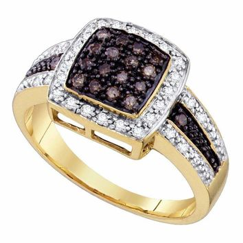 10k Gold Cognac-brown Diamond Women's Cluster Square Cocktail Ring - FREE Shipping (US/CA)