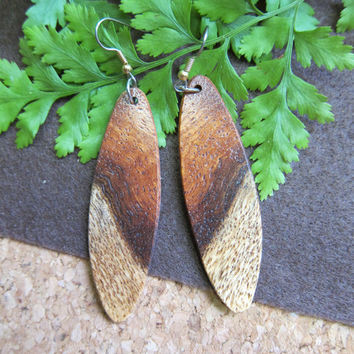 Earrings Afzelia Exotic Wood Long Dangle Handmade ExoticWoodJewelryAnd Ecofriendly repurposed