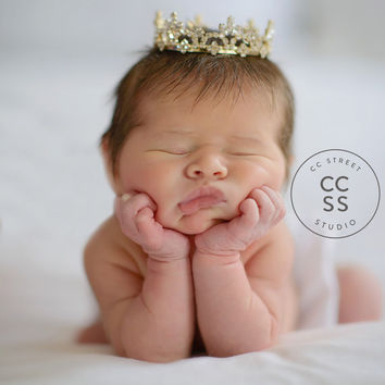 Gold Crown, Newborn Rhinestone Crown, Mini Crown, Newborn Tiara, Newborn Photo Prop, Baby Tiara, Maternity Prop, Cake Topper