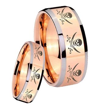 His Hers Rose Gold Beveled Multiple Skull Pirate 2 Tone Tungsten Wedding Rings Set