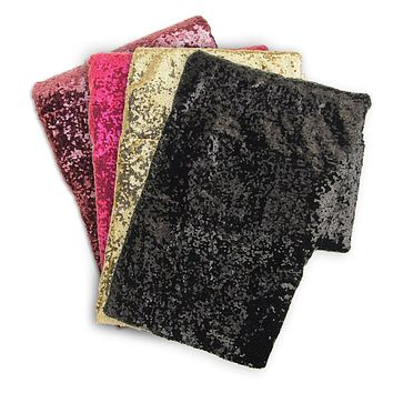Sparkling Sequins Square Fabric Table Overlay, 72-Inch x 72-Inch