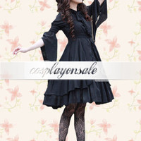 Lolita Costumes Black Witch Cotton Half Sleeves Double-Layer Gothic Lolita Dress [T110484] - $94.00