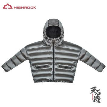 HighRock 2017 Women 700FP Goose Down Jackets Lightweight Thickening Short Overcoat Thermal Parka for Camping Hiking Skiing