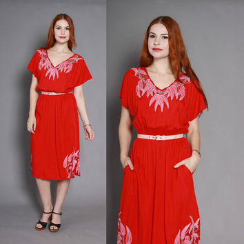 80s BALI Cutwork Mesh Net Trim DRESS / 1980s Red Bamboo Embroidered Ethnic Dress