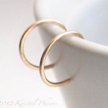 Extra Tiny Gold Hoops - minimal reverse hoop earrings in 14k Gold-Filled, yellow rose or white