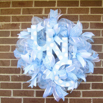UNC Wreath, College Wreath, Tar Heels Wreath, University of North Carolina Wreath, North Carolina Wreath, Football Wreath