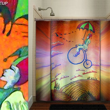 flying jester clown penny farthing bicycle shower curtain kids bathroom decor bath fabric window curtains panel bathmat rug towel extra long