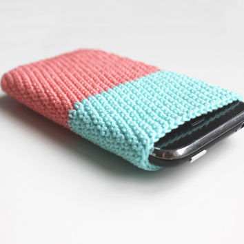 iPhone 5, 4 case mint, peach, coral / crochet iphone 3GS case, sleeve, cover - cell phone bag - smartphone case - women, girls