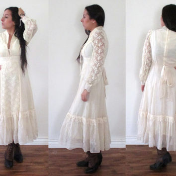 Vintage 70s GUNNE SAX Floral Lace Midi Maxi Long Sleeve Dress // White Cream Wedding // Boho Gypsy Hippie Hipster // XS Extra Small / Small