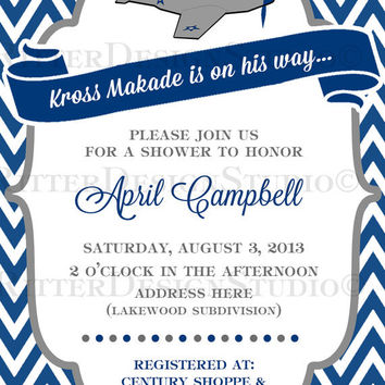 Airplane Baby Shower Invitation Navy Grey Chevron  - Printable