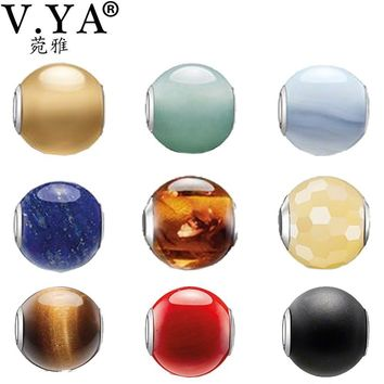 V YA Colorful Beads for Jewelry Making Charms for Pandora Bracelets Necklaces Women's