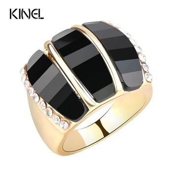 Kinel Fashion Gold Watermelon Rings For Girl Pink Resin Crystal Love Ring Best Gift 2017 New