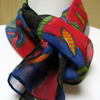 Handmade Silk Scarf Accessory- Matisse design- blue red yellow green- handpainted Chiffon- Made in the Hudson Valley NY- unique gift woman