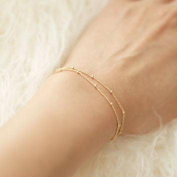 Summer bracelets & bangles Dainty Double-Layer, Satellite Chain, Gold Bracelet Wedding Gift