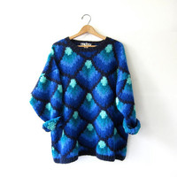 vintage wool sweater. oversized sweater. chunky knit pullover. Graphic saturated blue sweater.