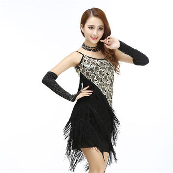 Fringe Sequined Spaghetti Strap Dress Woman Vintage 1920's Great Gatsby Party Flapper Sexy Clubwear Strap Latin Dance Mini Dress