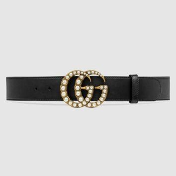 ONETOW Gucci Leather belt with pearl Double G