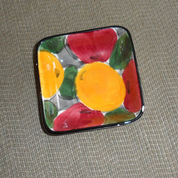 Vintage SMF / SCHRAMBERG  25 Dec. MIRABELLE / Vibrant Coloured Square Dish / Candy Dish / Trinket Dish / From Germany / Vintage Pottery