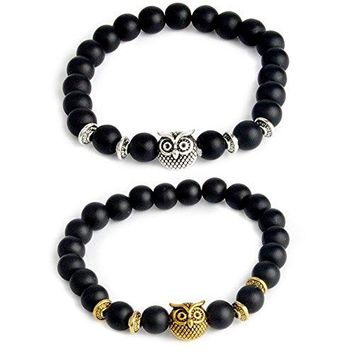 ISAACSONGDESIGN 2Pcs Distance Couple Prayer Natural Healing Stone 8mm Bead King amp Queen Crown Charm His and Her Stretch Bracelet for Women and Men