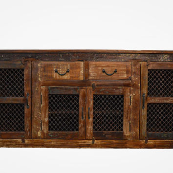 Reclaimed Wood Rustic Sideboard Buffet Table with Iron Grill
