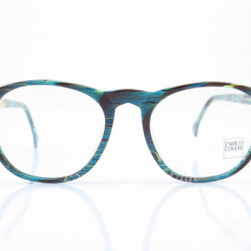 Enrico Coveri , Vintage Eyeglasses , Blue, Brown and Cream , Sunglasses , Mosaic , Geek , Unisex , Eyeglass Frames , NOS