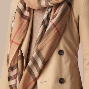 Burberry Women's Lightweight Check Wool and Silk Scarf Camel