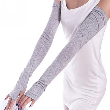 Arm Warmer cotton Long Fingerless Gloves