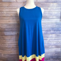 Blue Colorblock Dress
