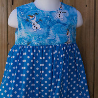 Girls Frozen OLAF print dress and matching hairbow, Girls dress, birthday outfit, summer dress, baby summer dress