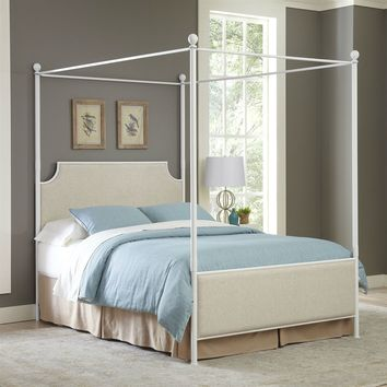 Queen size Metal Canopy Bed with Off White Beige Headboard Footboard