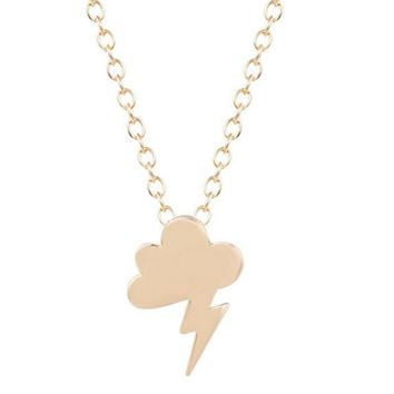 Gold Plated Storm Cloud Lightning Pendant Necklace