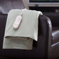 Sage Green Comfort Knit Heated Electric Warming Throw Blanket