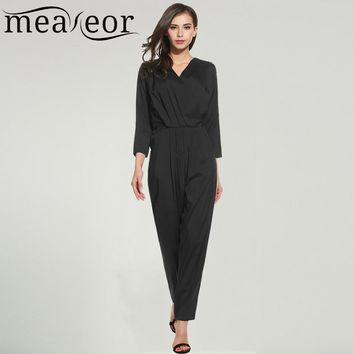 Meaneor Women Jumpsuit Spring Autumn Casual Crossing V-Neck 3/4 Sleeve Solid Pocket Zipper Full Length Feminino Rompers